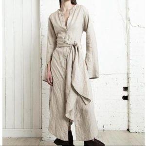 Nicholas K Women's Linen Wrap Shirt Dress Natural